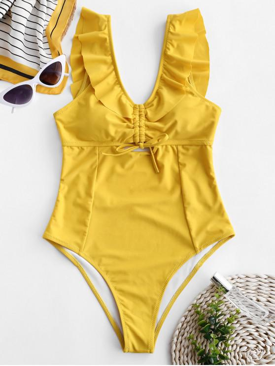 affordable ZAFUL Cinched Ruffle Backless Swimsuit - BEE YELLOW L