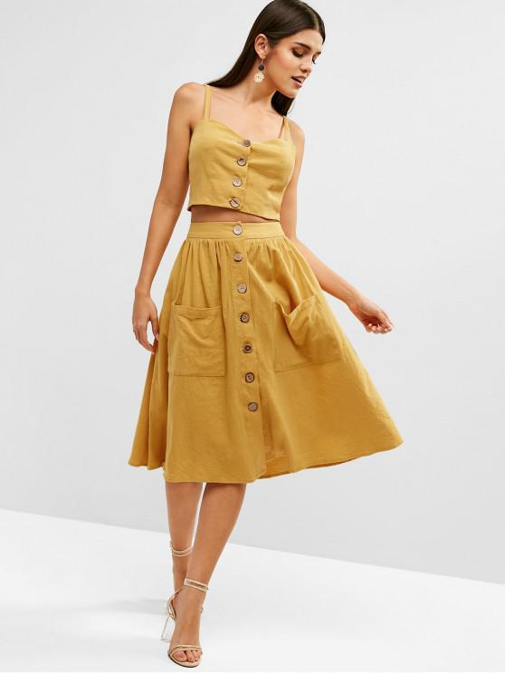 affordable ZAFUL Smocked Pocket Button Fly Skirt Set - YELLOW M