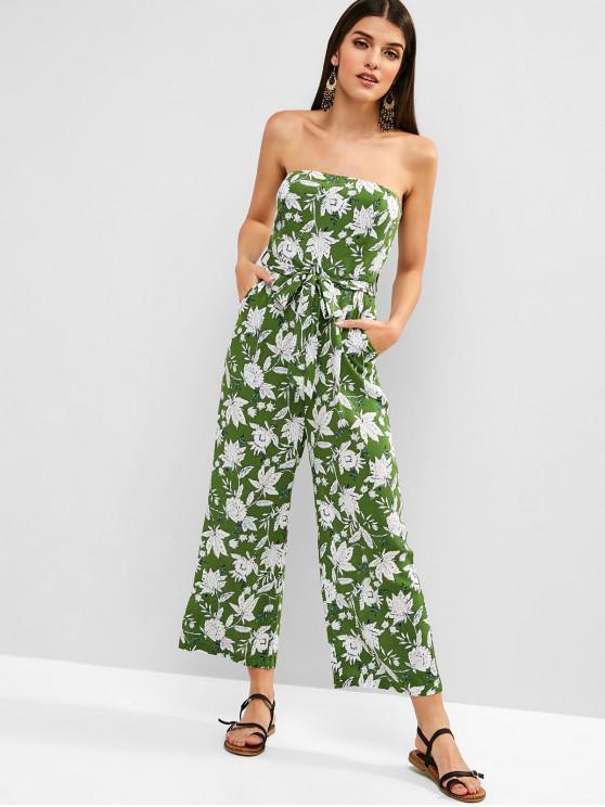 fashion ZAFUL Plant Print Belted Bandeau Jumpsuit - MEDIUM SPRING GREEN M