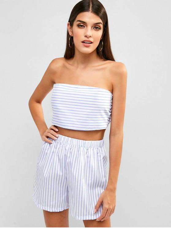 women's Striped Knotted Strapless Top and Shorts Set - WHITE M