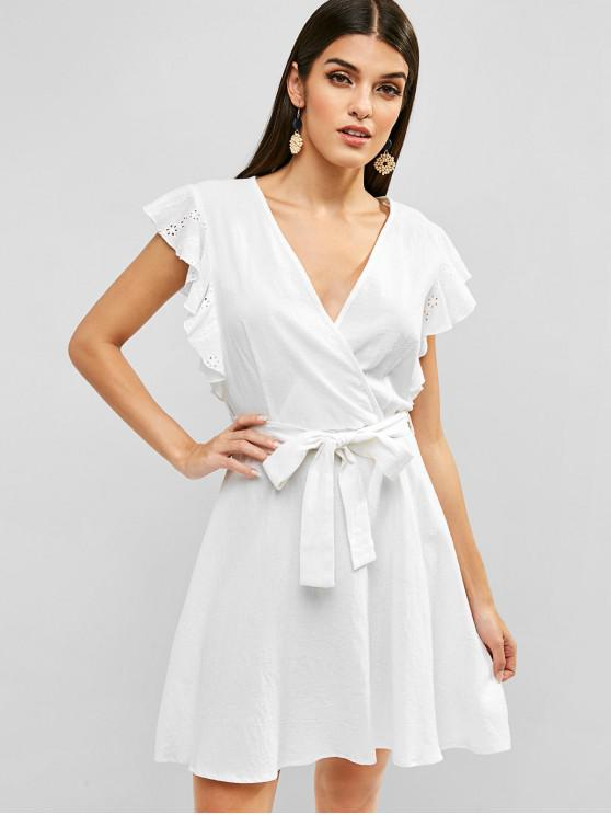 online ZAFUL Ruffled Surplice Belted A Line Dress - WHITE M