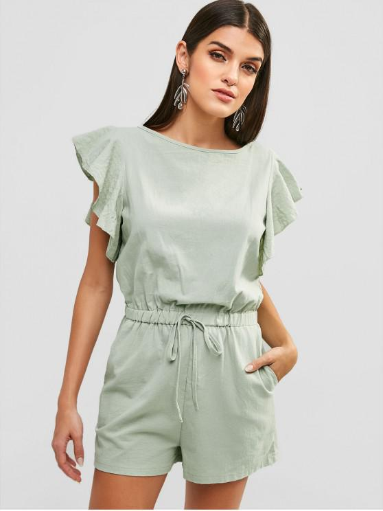outfits Tie Ruffle Romper - PALE BLUE LILY L