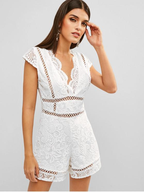chic Scalloped Lace Panel Eyelet Romper - WHITE M