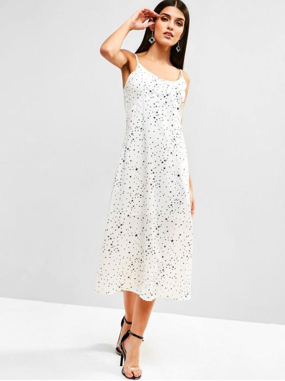 lady ZAFUL Spaghetti Strap Star Print Midi Dress - WHITE L