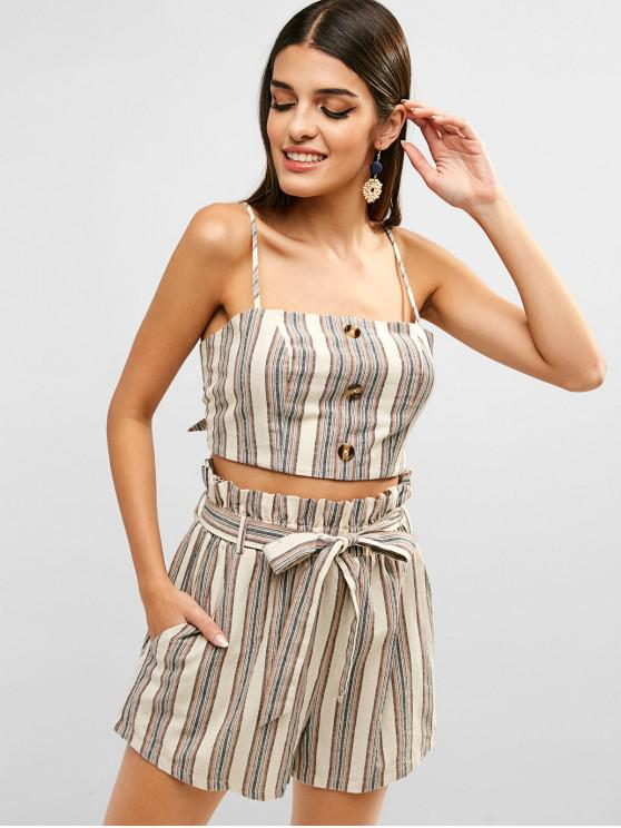 lady ZAFUL Tie Back Stripes Buttoned Top And Shorts Set - BLANCHED ALMOND L