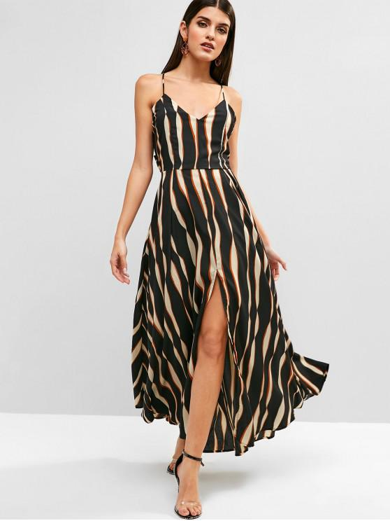 lady Tied Back Stripes Slit Cami Dress - BLACK L