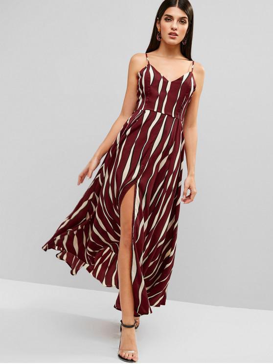 shop Tied Back Stripes Slit Cami Dress - RED WINE M