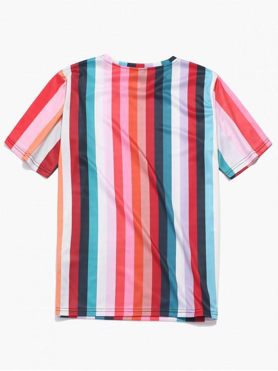 Manches T CourtesMulti Rayé Design shirt L À a N8wmn0