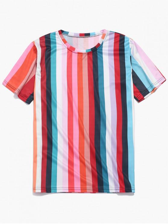 latest Striped Design Short Sleeves T-shirt - MULTI-A 4XL
