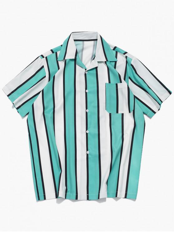 fancy Color Block Stripes Print Casual Shirt - MACAW BLUE GREEN L