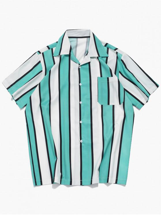 chic Color Block Stripes Print Casual Shirt - MACAW BLUE GREEN M
