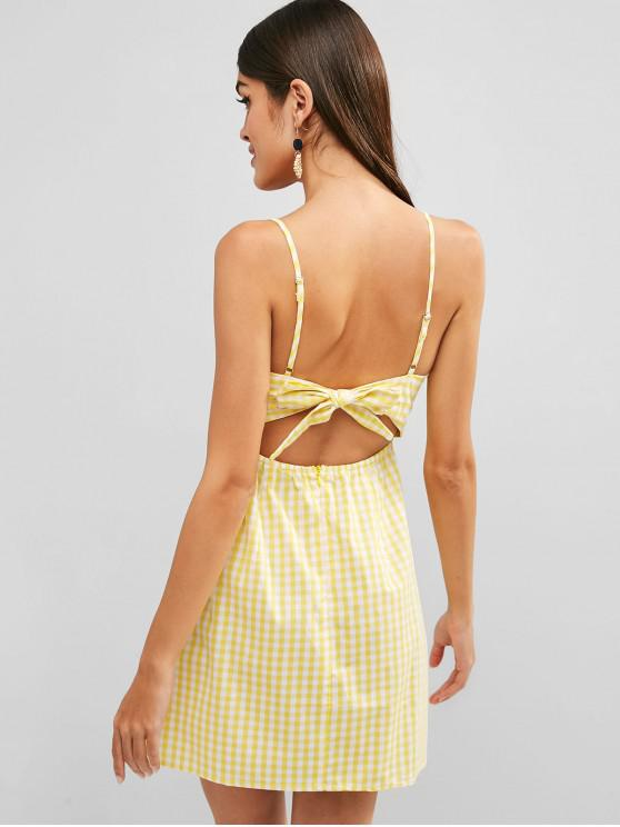 affordable Plaid Tie Back Cami Dress - YELLOW S