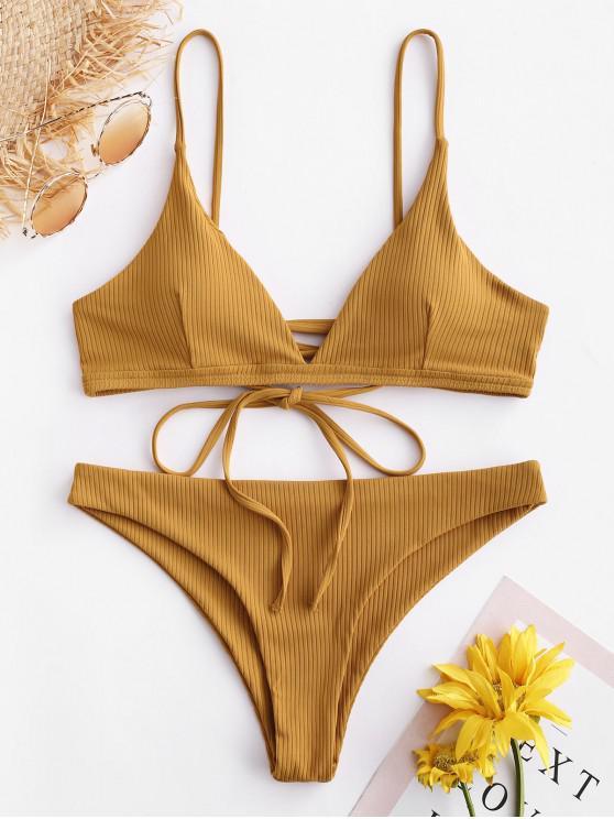outfits ZAFUL Ribbed Lace Up Bikini Set - GOLDEN BROWN M