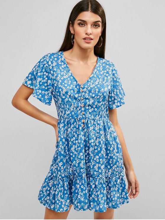 Robe Mi-Longue Fleurie à Demi-Boutonnée - Bleu L