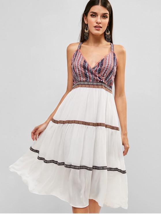 outfits Bohemian Print Surplice Midi Dress - MULTI M