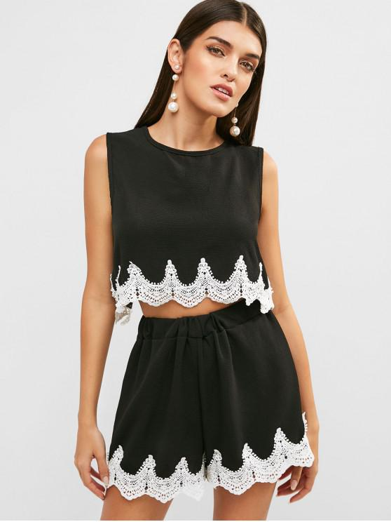 fancy Crochet Panel Crop Top and Shorts Set - BLACK XL