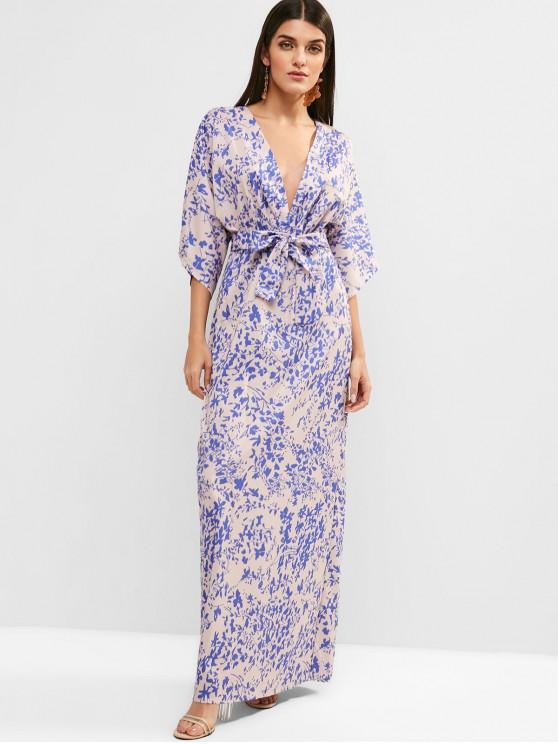 outfits Low Cut Floral Print Belted Maxi Dress - MULTI M
