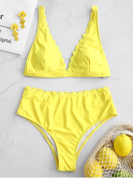 hot ZAFUL High Waisted Scalloped Bikini Set - YELLOW M