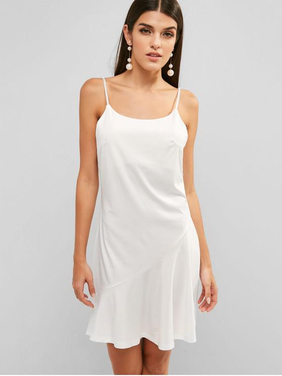 trendy Open Back Cami A Line Dress - WHITE L