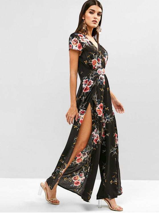 fashion Floral Slit Cap Sleeve Wide Leg Jumpsuit - BLACK L