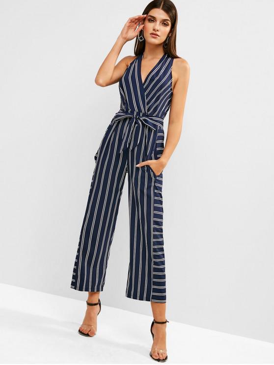 unique Striped Plunging Wide Leg Jumpsuit - DEEP BLUE S