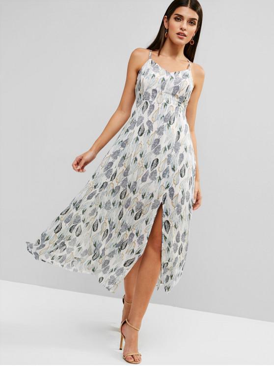 lady Leaves Print Lace Up Slit Maxi Dress - WHITE S
