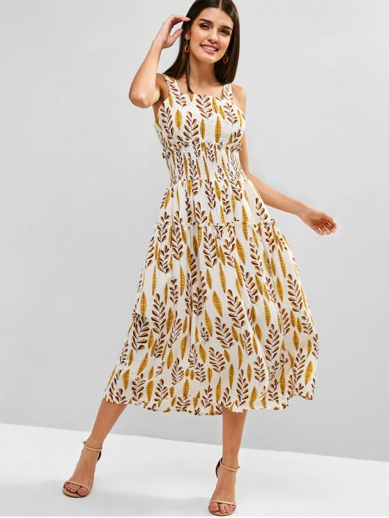 chic Leaves Print Smocked A Line Dress - YELLOW L