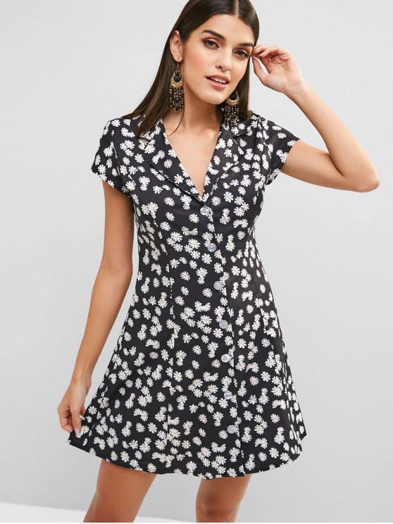 Vestido floral de solapa con botones - Negro M