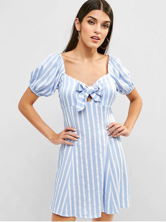 lady ZAFUL Striped Tie Front Mini Dress - BLUE IVY L