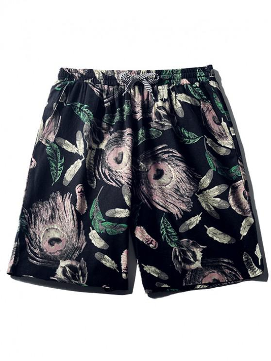 fancy Feathers Painting Print Beach Shorts - CADETBLUE M