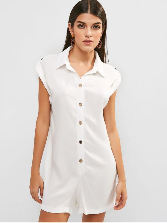 women Shirt Collar Buttoned Plain Romper - WHITE M