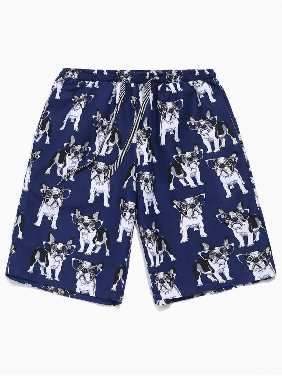 Pantalones cortos con cordón estampado perro con gafas - Azul Profundo L