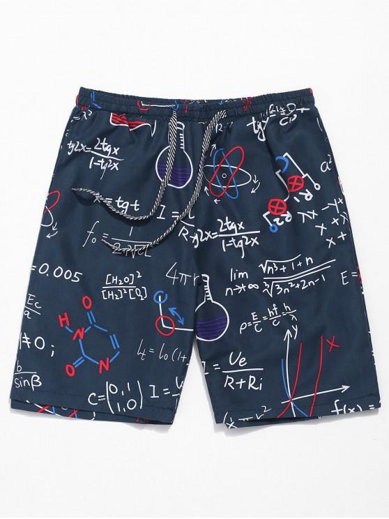 Shorts de playa estampados con diseño de fórmulas - Azul de Medianoche L