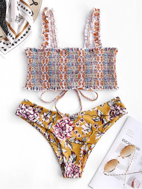 buy ZAFUL Bohemian Flower Smocked Lace Up Bikini Set - MULTI-A S