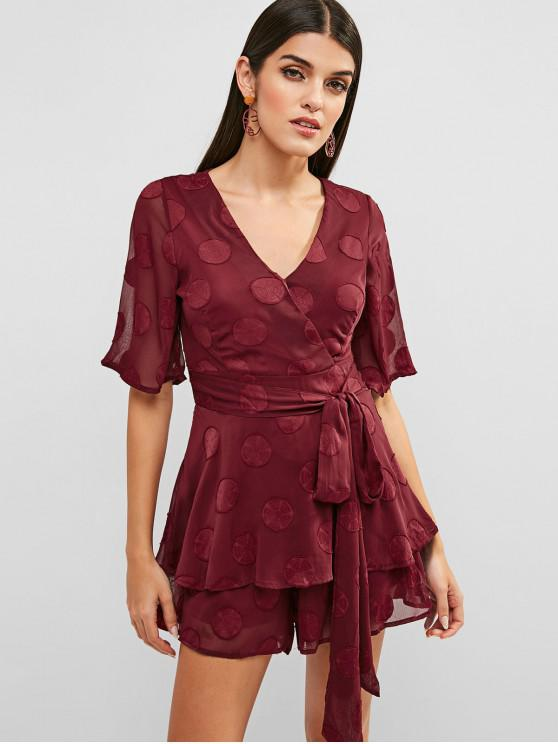 unique V Neck Knotted Wide Leg Romper - RED WINE M