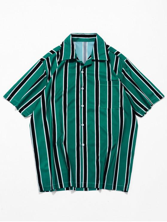 buy Stripes Print Button Up Casual Shirt - MEDIUM SEA GREEN L