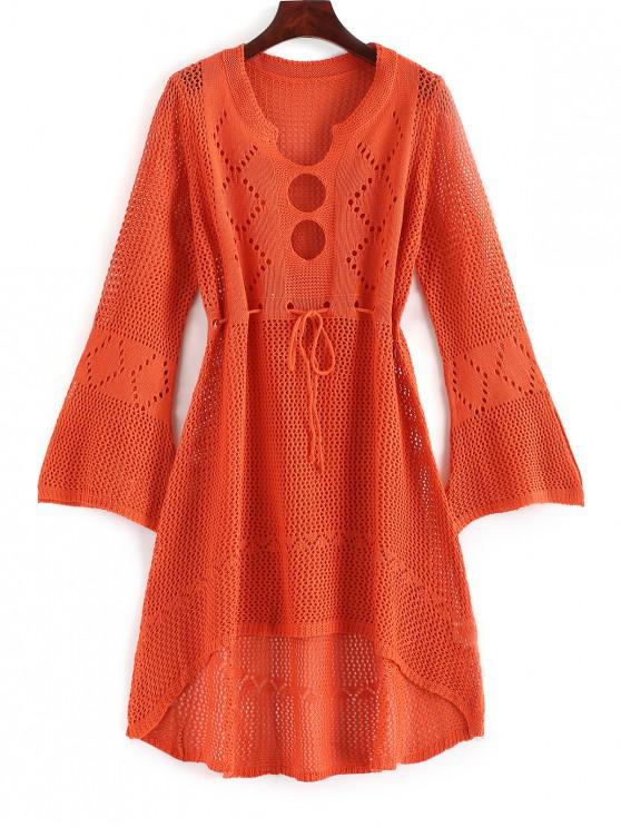 outfit Cutout Drawstring Crochet Dress - PAPAYA ORANGE ONE SIZE