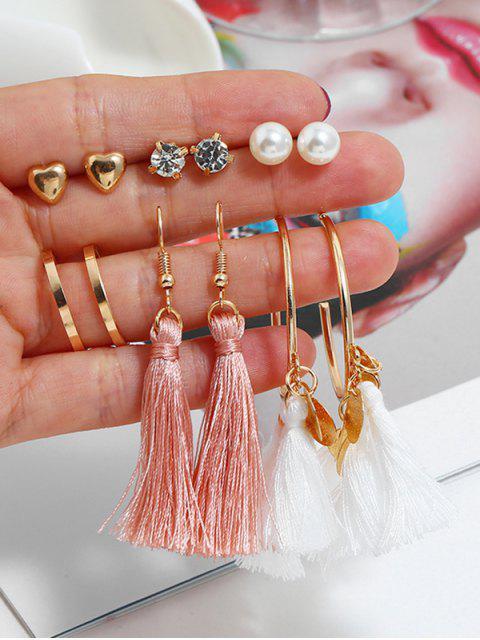 lady 6Pairs Tassel Button Earrings Set - MULTI-D  Mobile
