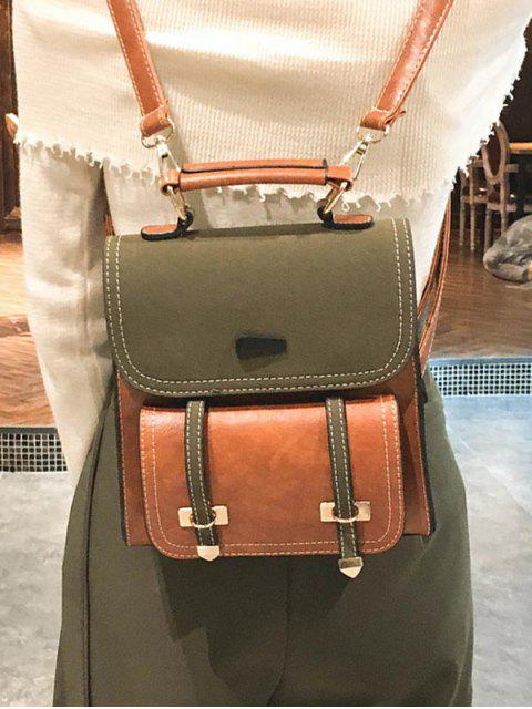best Contrast Color Preppy Style Leather Backpack - CARAMEL  Mobile