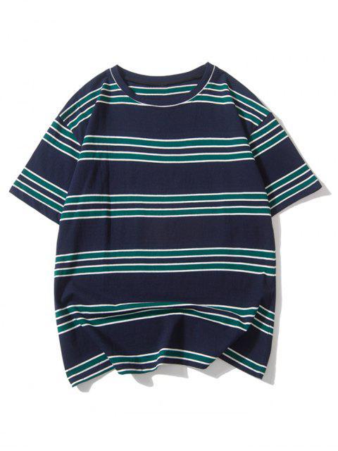 Camiseta de rayas estampada con hombros caídos - Azul de Pizarra Oscuro L Mobile