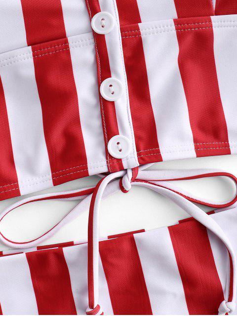 Botón de rayas ZAFUL adornado con cordones conjunto Tankini - Multicolor-A XL Mobile