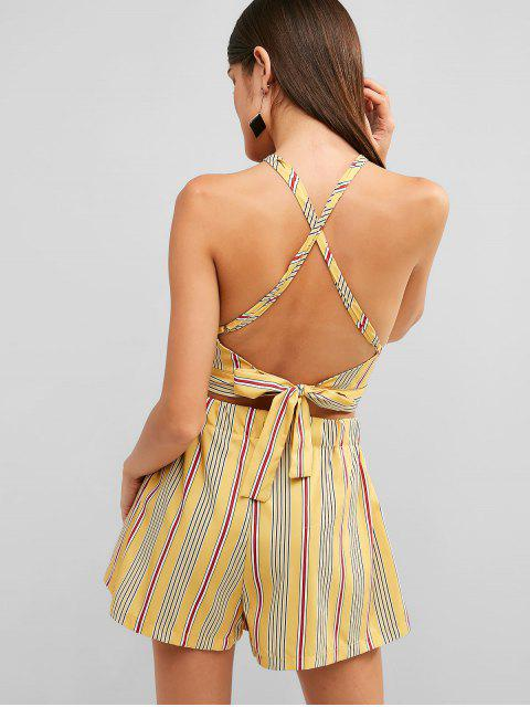 hot ZAFUL Backless Striped Top and Loose Shorts Set - YELLOW L Mobile