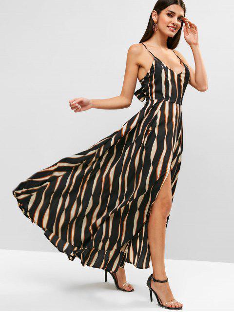 ladies Tied Back Stripes Slit Cami Dress - BLACK 2XL Mobile