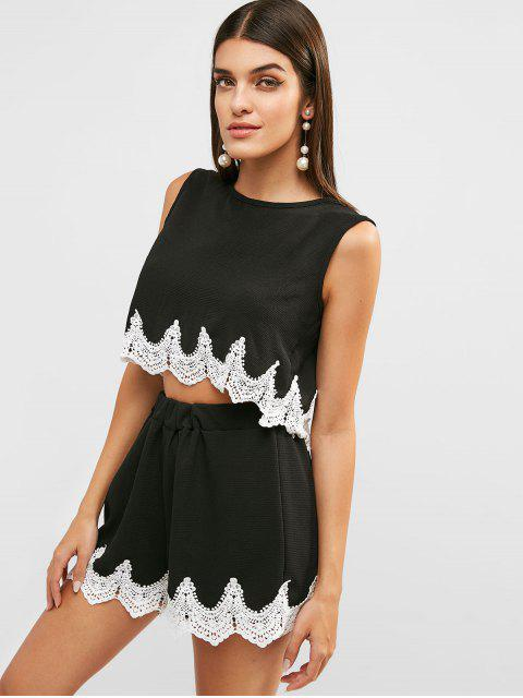 fancy Crochet Panel Crop Top and Shorts Set - BLACK XL Mobile