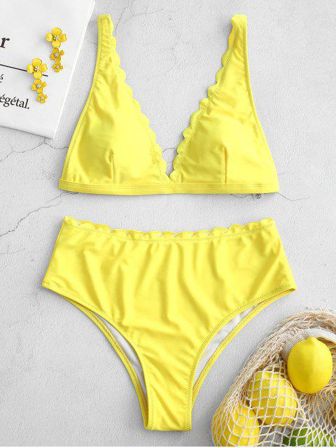 Conjunto de biquíni recortado de cintura alta ZAFUL - Amarelo L Mobile