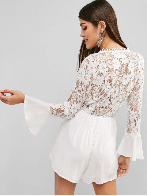 Tie Front Lace Panel Wide Leg Romper - Blanco M Mobile