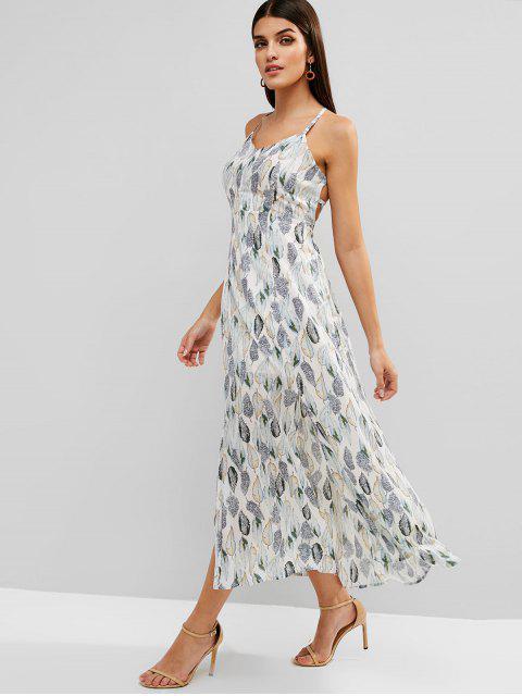 Vestido maxi con corte de encaje y estampado de hojas - Blanco S Mobile