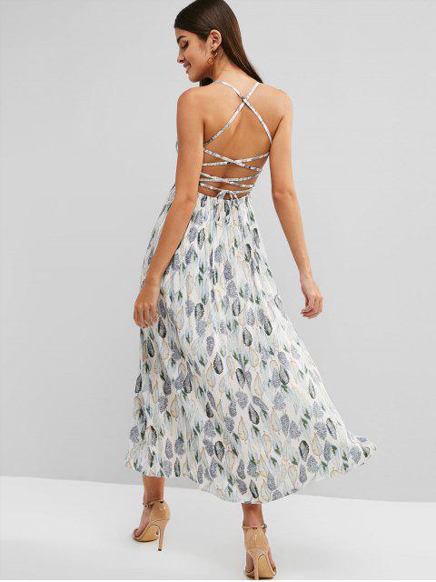 ladies Leaves Print Lace Up Slit Maxi Dress - WHITE M Mobile