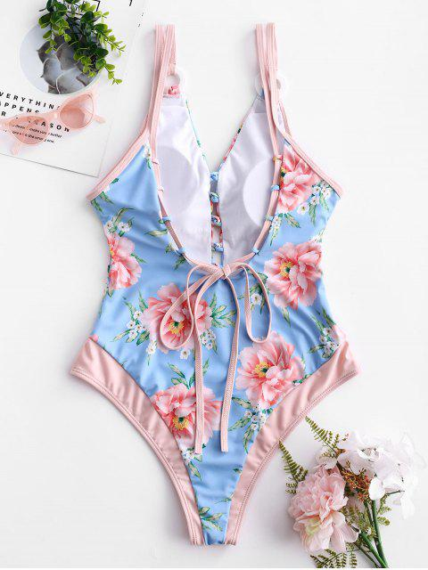 women ZAFUL Flower Backless Plunging Swimsuit - MULTI-A L Mobile
