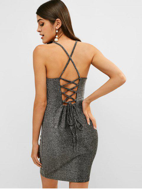 trendy Shiny Lace Up Club Bodycon Dress - SILVER L Mobile